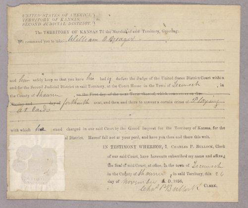 Kansas Territory versus William O. Yager for gambling - Page