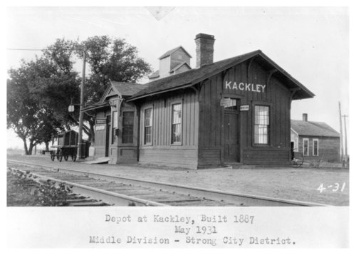 Atchison, Topeka and Santa Fe Railway Company depot, Kackley, Kansas - Page