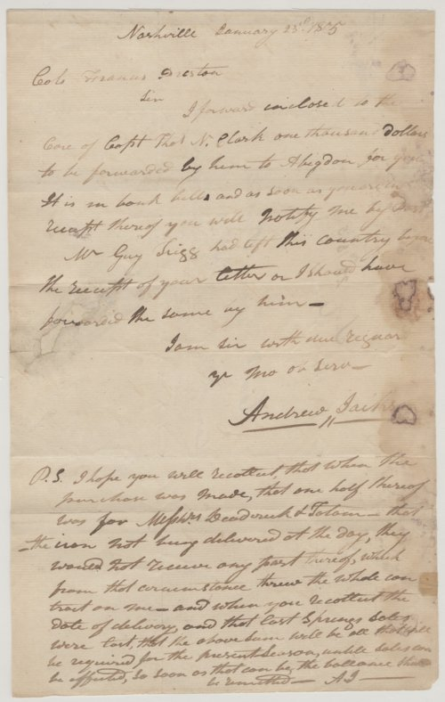 Andrew Jackson to Col. Francis Preston - Page