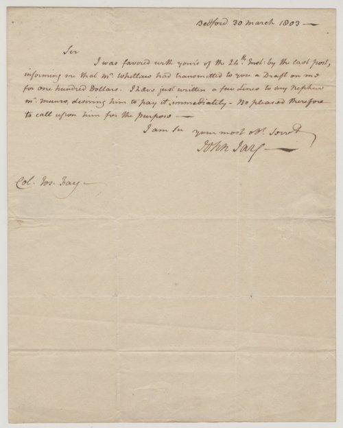 John Jay to Colonel Joseph Fay - Page