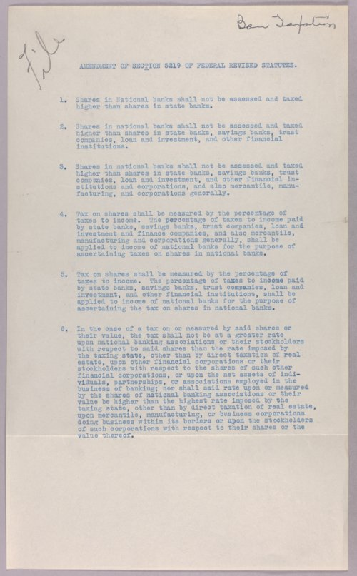 Governor Clyde M. Reed correspondence, bank taxation - Page