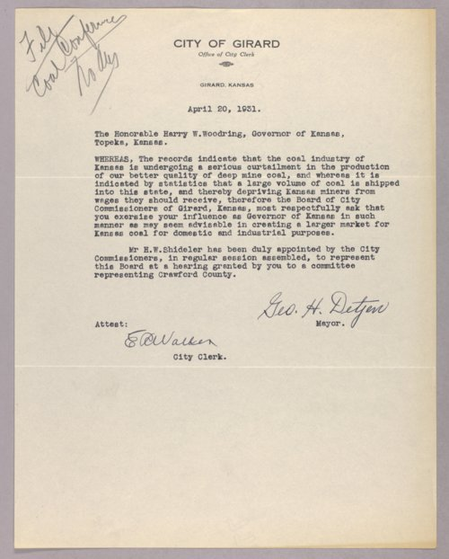 Governor Clyde M. Reed correspondence, coal conference - Page