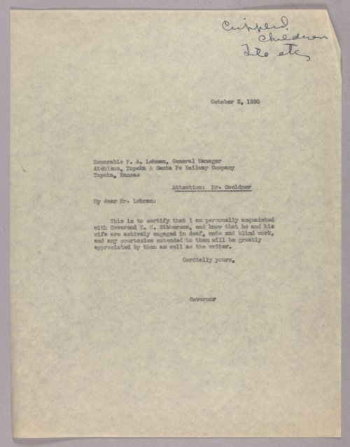 Governor Clyde M. Reed correspondence, Crippled Children Commission - Page