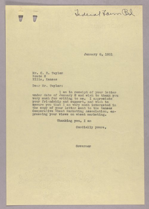 Governor Clyde M. Reed correspondence, Federal Farm Board - Page