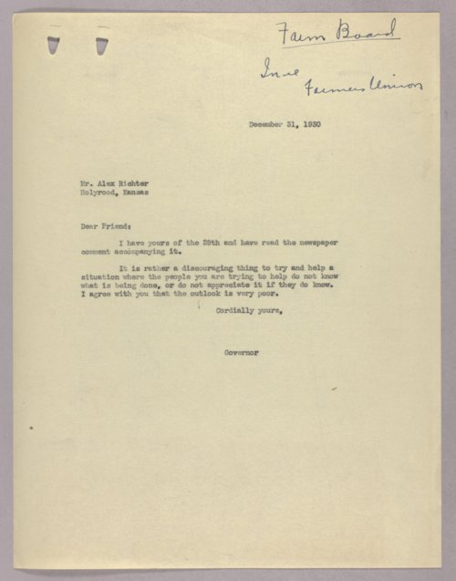 Governor Clyde M. Reed correspondence, Federal Farm Bureau - Page