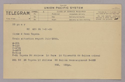 Governor Clyde M. Reed correspondence, railroads - Page