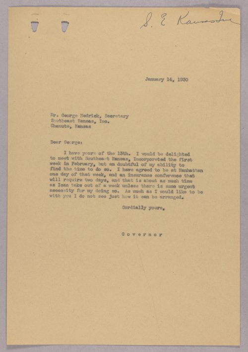 Governor Clyde M. Reed correspondence, Southeast Kansas, Inc. - Page