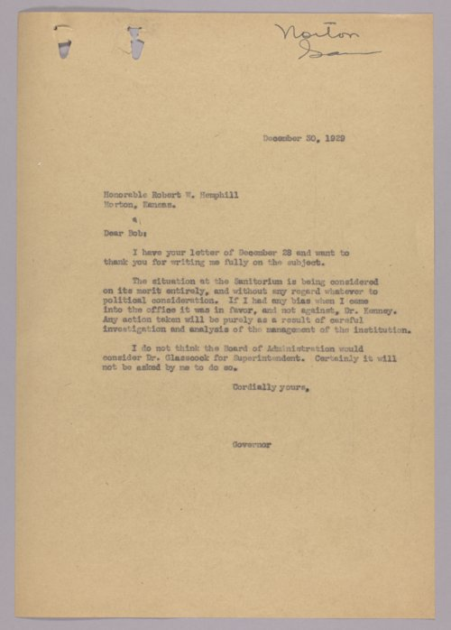 Governor Clyde M. Reed correspondence, Tuberculosis Hospital - Page