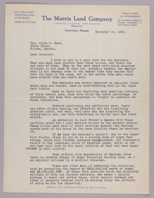 Governor Clyde M. Reed correspondence, Mexican labor - Page