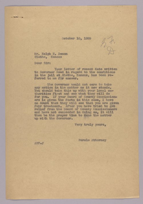 Governor Clyde M. Reed correspondence, alphabetical file (D) - Page