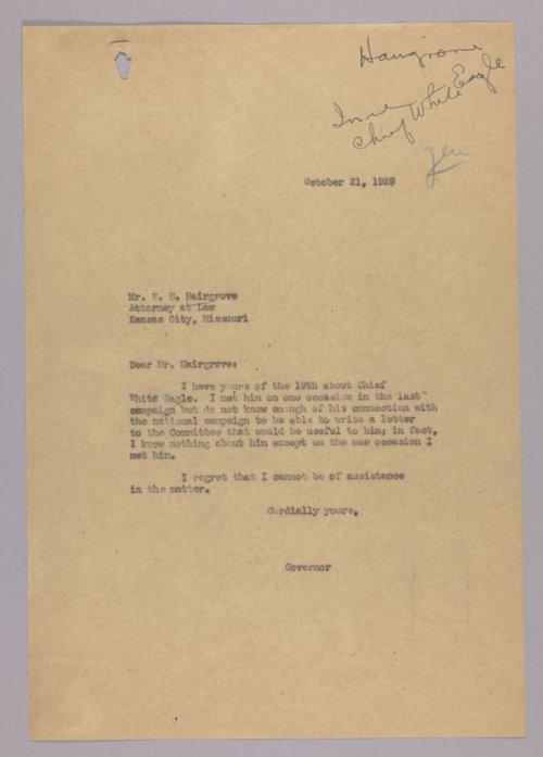 Governor Clyde M. Reed correspondence, alphabetical file (H) - Page