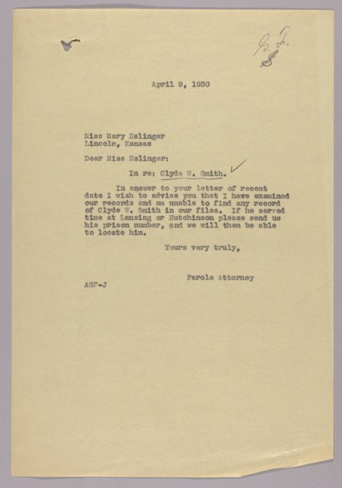 Governor Clyde M. Reed correspondence, alphabetical file (S) - Page