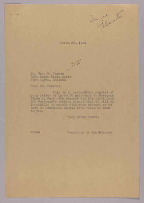 Governor Clyde M. Reed correspondence, alphabetical file (W) - Page