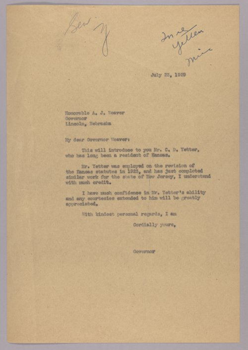 Governor Clyde M. Reed correspondence, alphabetical file (X-Z) - Page