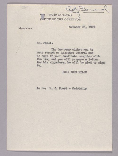 Governor Clyde M. Reed correspondence, Adjutant General - Page
