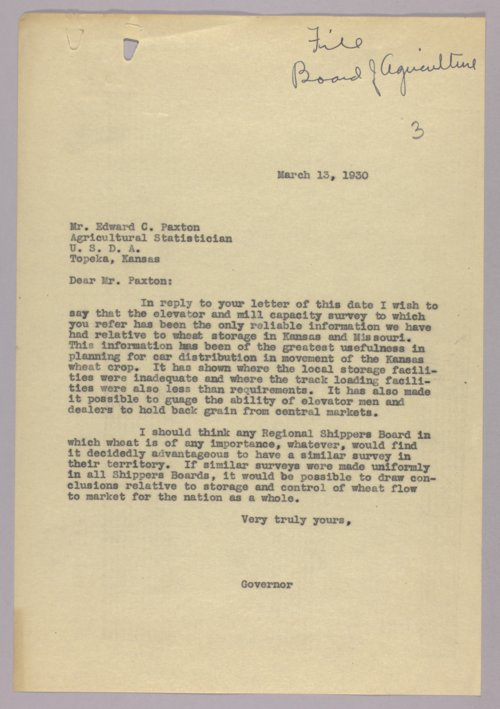 Governor Clyde M. Reed correspondence, Board of Agriculture - Page