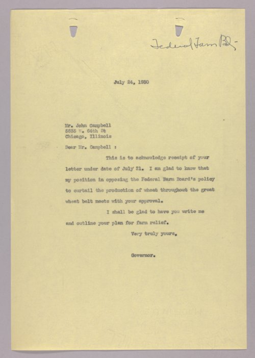 Governor Clyde M. Reed correspondence, farm relief - Page
