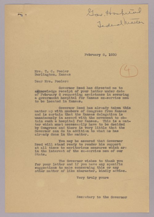 Governor Clyde M. Reed correspondence, American Legion - Page