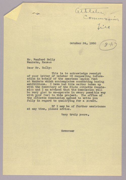 Governor Clyde M. Reed correspondence, athletic commission - Page