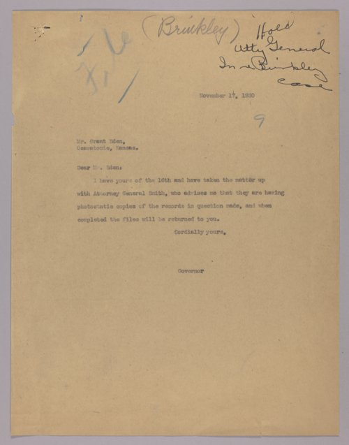 Governor Clyde M. Reed correspondence, J.R. Brinkley case - Page