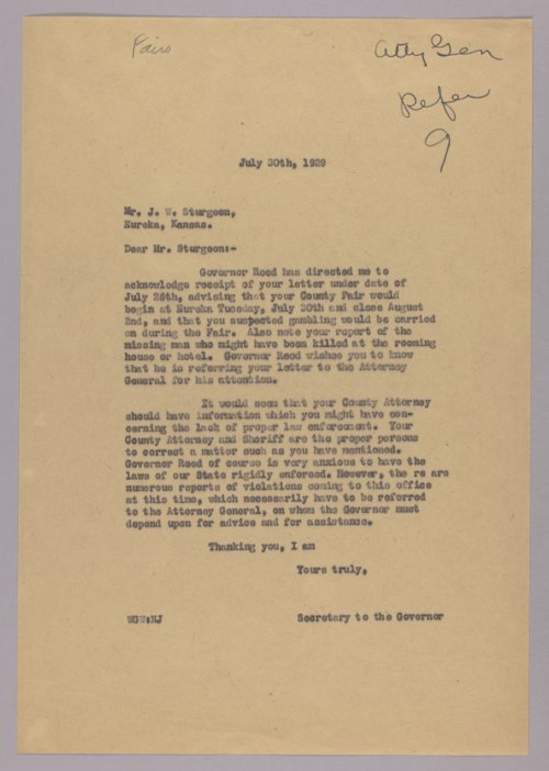 Governor Clyde M. Reed correspondence, fairs and gambling - Page