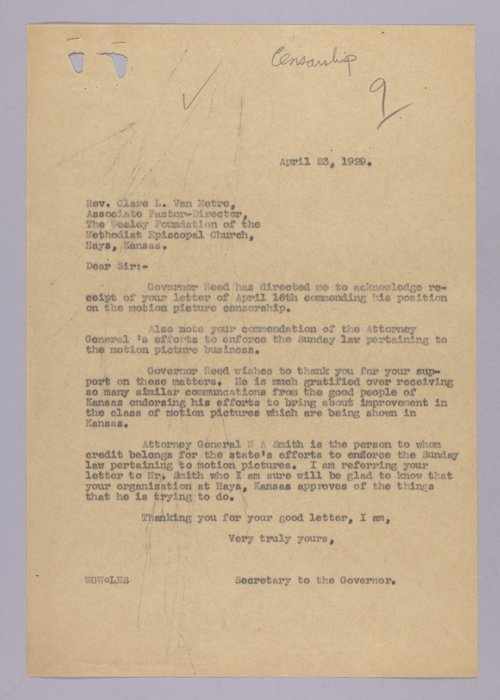 Governor Clyde M. Reed correspondence, Sunday movies - Page