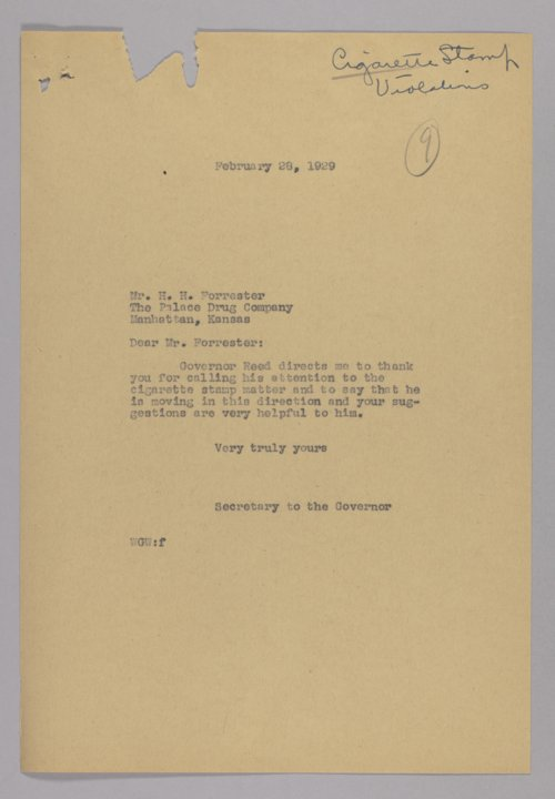 Governor Clyde M. Reed correspondence, billboard advertising - Page