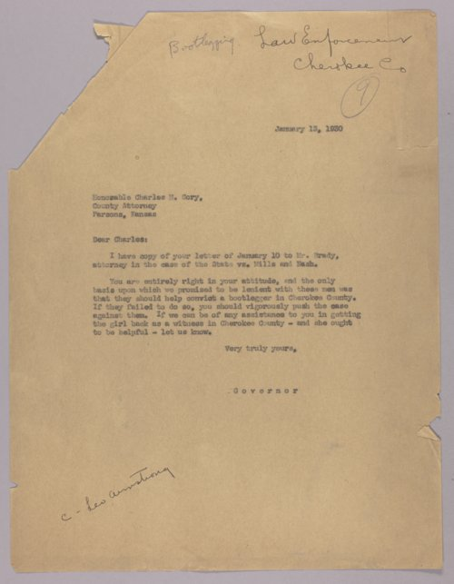 Governor Clyde M. Reed correspondence, law enforcement - Page
