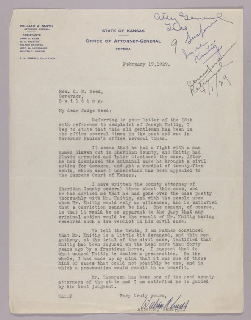 Governor Clyde M. Reed correspondence, Attorney General - Page