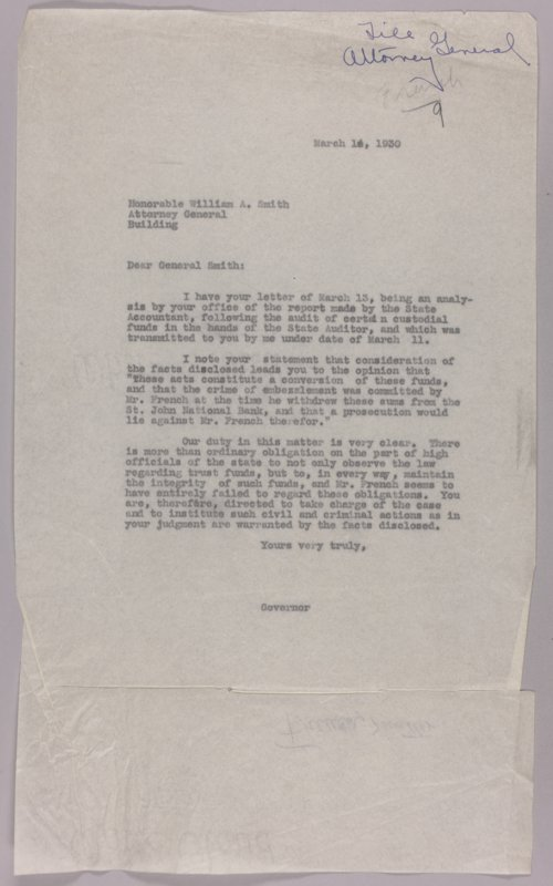 Governor Clyde M. Reed correspondence, State Auditor - Page