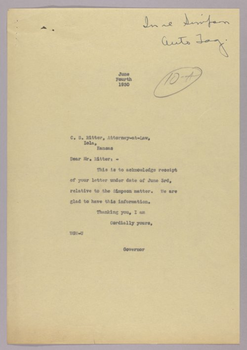 Governor Clyde M. Reed correspondence, automobile licensing and motor traffic - Page