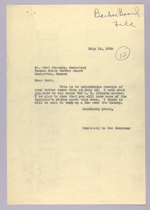 Governor Clyde M. Reed correspondence, Barber Board - Page