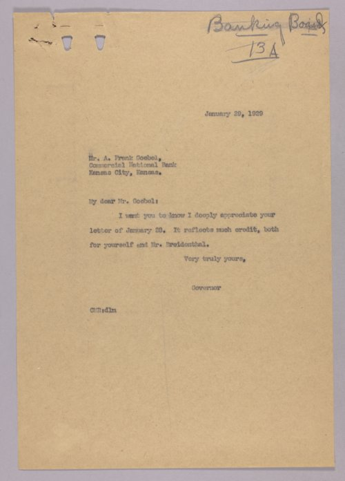 Governor Clyde M. Reed correspondence, Banking Board - Page