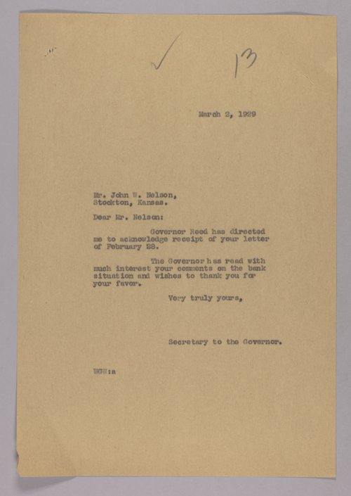 Governor Clyde M. Reed correspondence, Bank Commission - Page
