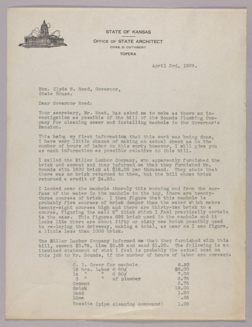 Governor Clyde M. Reed correspondence, Legislative Bills - Page