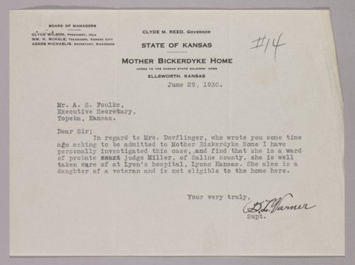 Governor Clyde M. Reed correspondence, Mother Bickerdyke Home - Page
