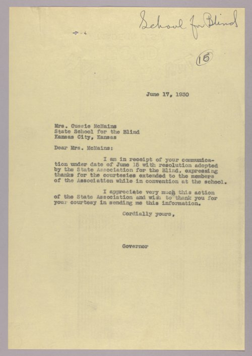 Governor Clyde M. Reed correspondence, Kansas State Institute for the Blind - Page