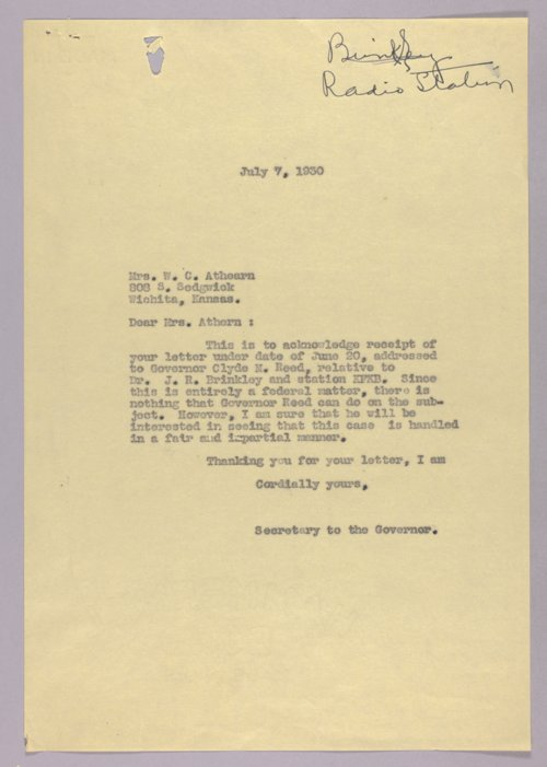 Governor Clyde M. Reed correspondence, Dr. Brinkley to Judge Faulk - Page