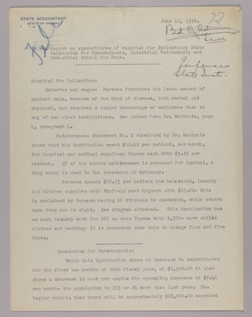 Governor Clyde M. Reed correspondence, Budget Department - Page