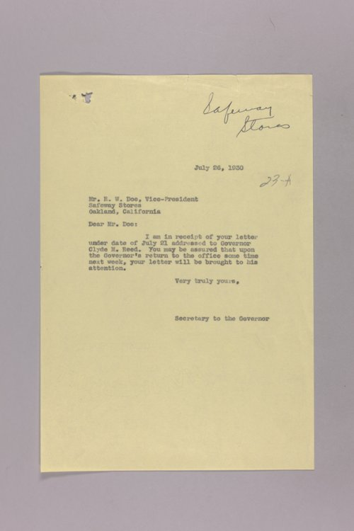 Governor Clyde M. Reed correspondence, chain stores - Page
