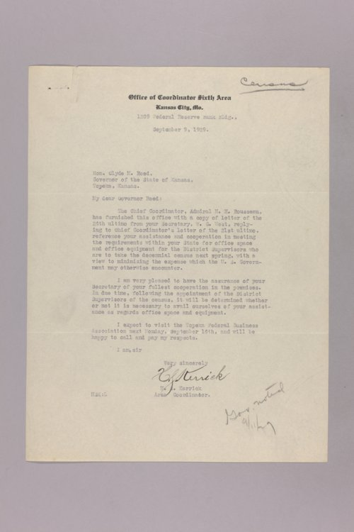 Governor Clyde M. Reed correspondence, Federal Census - Page