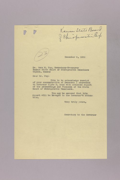 Governor Clyde M. Reed correspondence, Chiropractic Board - Page