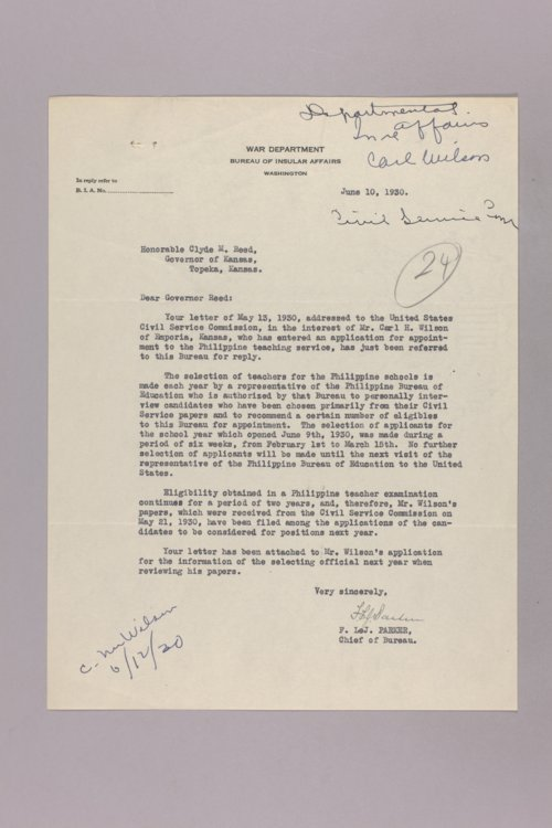 Governor Clyde M. Reed correspondence, United States Civil Service - Page