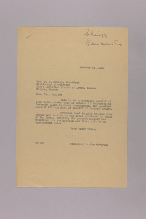 Governor Clyde M. Reed correspondence, County Sherriff - Page