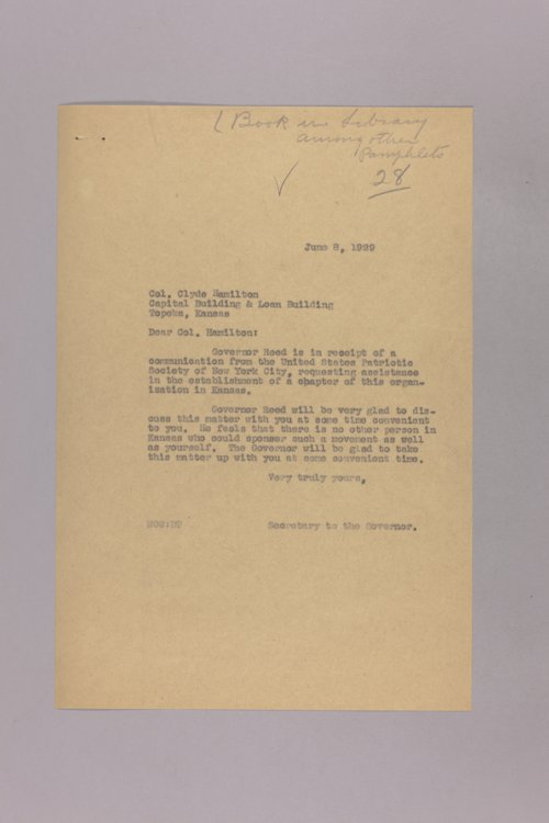 Governor Clyde M. Reed correspondence, Constitution - Page