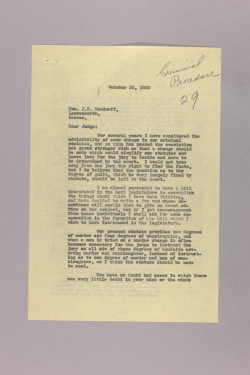 Governor Clyde M. Reed correspondence, criminal procedure - Page