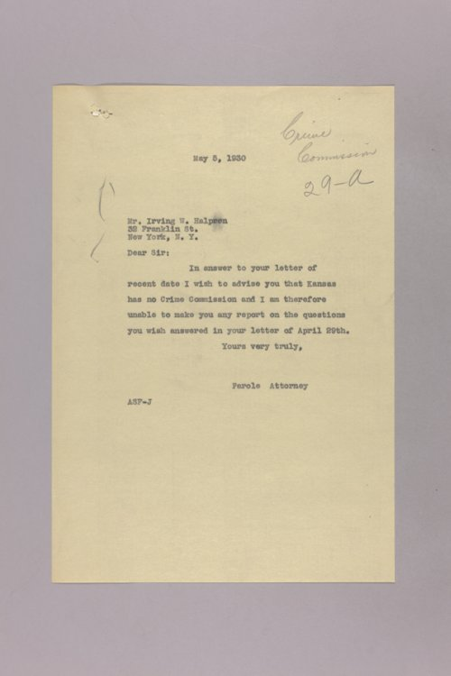 Governor Clyde M. Reed correspondence, Crime Commission - Page
