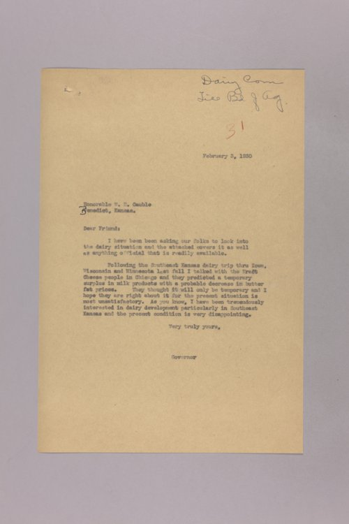 Governor Clyde M. Reed correspondence, Dairy Commission - Page
