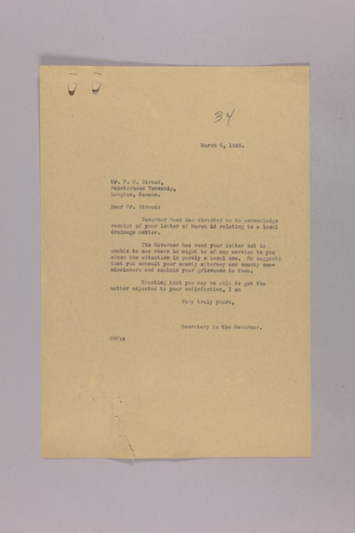 Governor Clyde M. Reed correspondence, field drainage - Page
