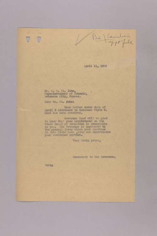 Governor Clyde M. Reed correspondence, education